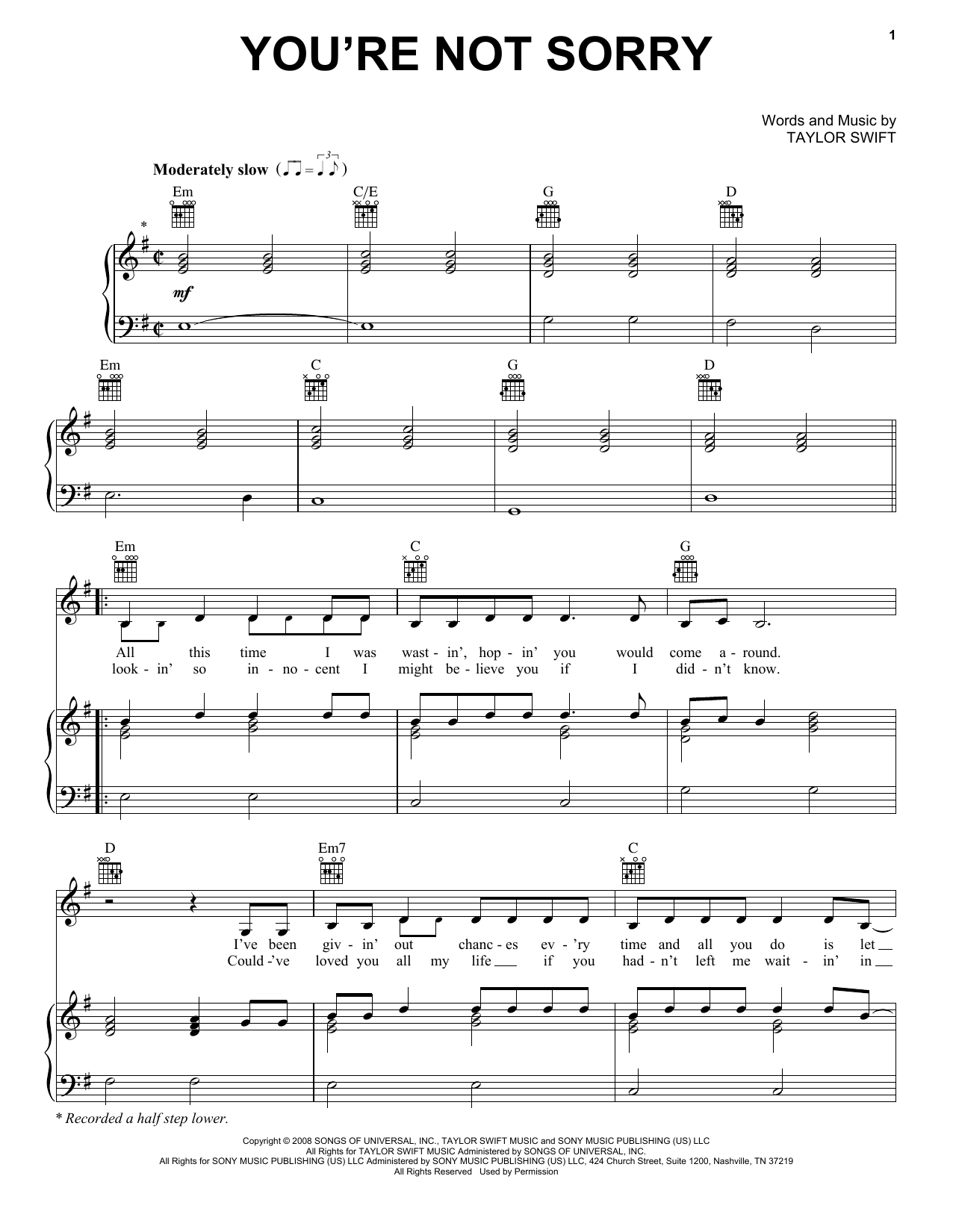 Guitar guitar chords sorry : You're Not Sorry sheet music by Taylor Swift (Piano, Vocal ...