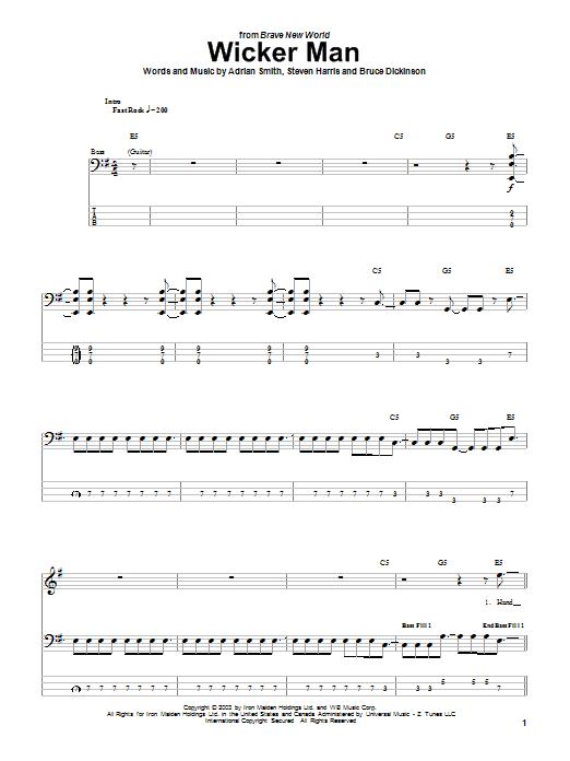 The Wicker Man (Bass Guitar Tab)