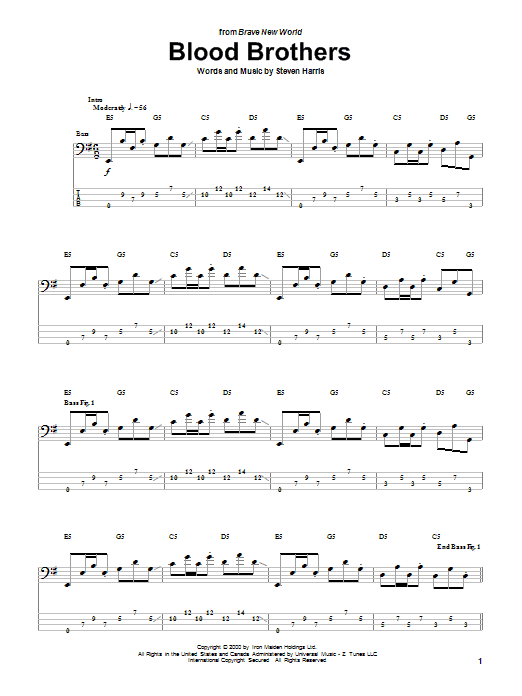 Tablature guitare Blood Brothers de Iron Maiden - Tablature Basse