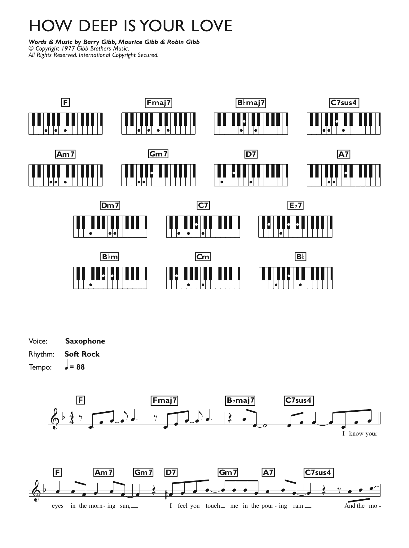 How Deep Is Your Love Sheet Music Bee Gees Keyboard