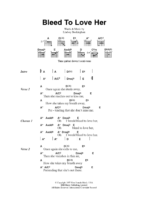 Bleed To Love Her by Fleetwood Mac - Guitar Chords/Lyrics - Guitar ...