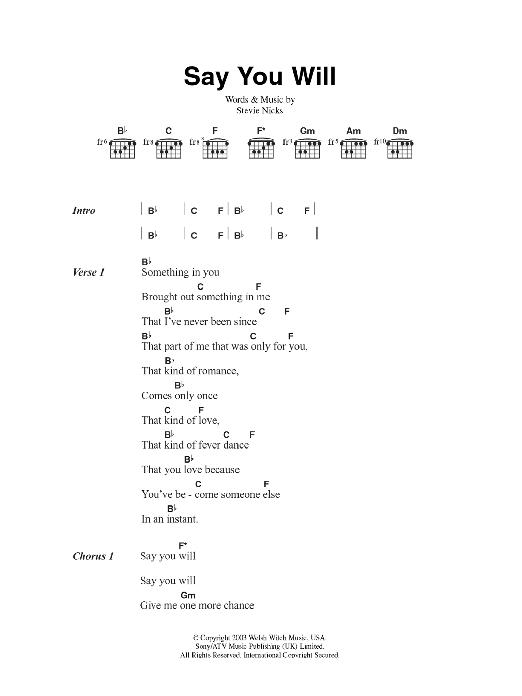 Say You Will Sheet Music Fleetwood Mac Lyrics Chords