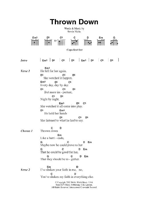 Thrown Down Sheet Music Fleetwood Mac Lyrics Chords