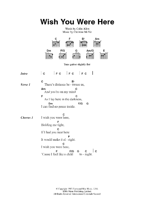 Guitar guitar tablature wish you were here : Wish You Were Here by Fleetwood Mac - Guitar Chords/Lyrics ...