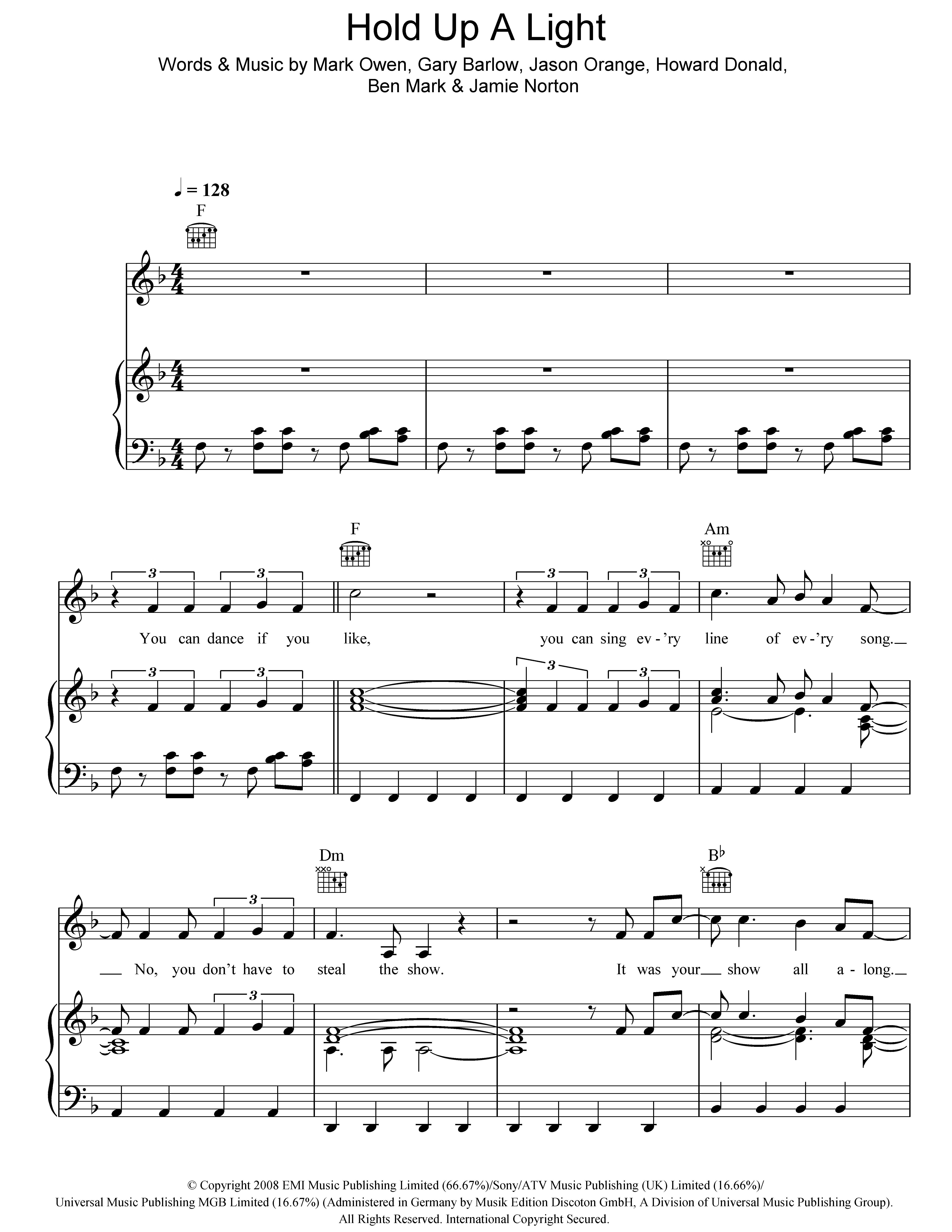 Hold Up A Light (Piano, Vocal & Guitar)