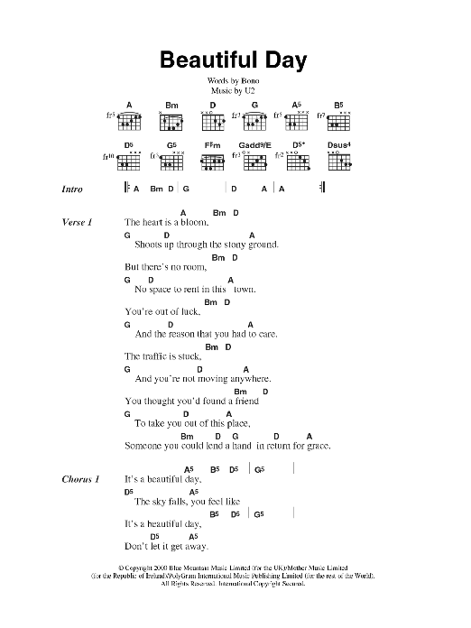Beautiful Day by U2 - Guitar Chords/Lyrics - Guitar Instructor