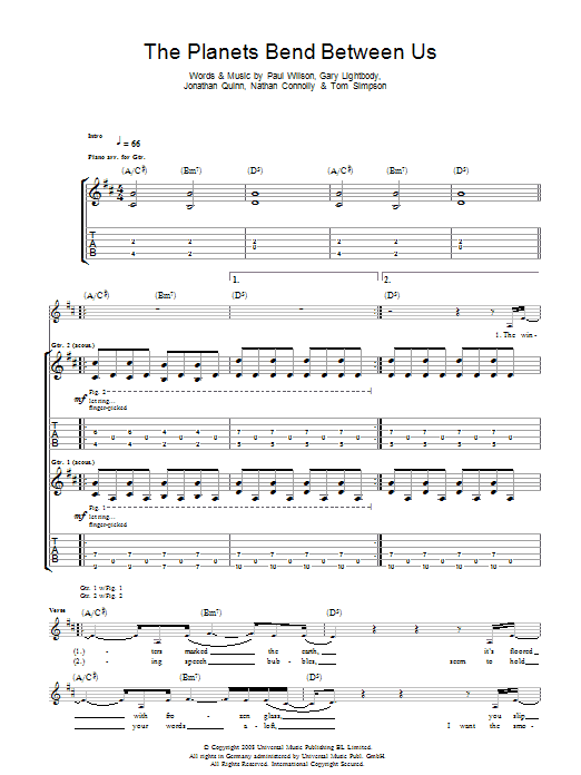 The Planets Bend Between Us (Guitar Tab)