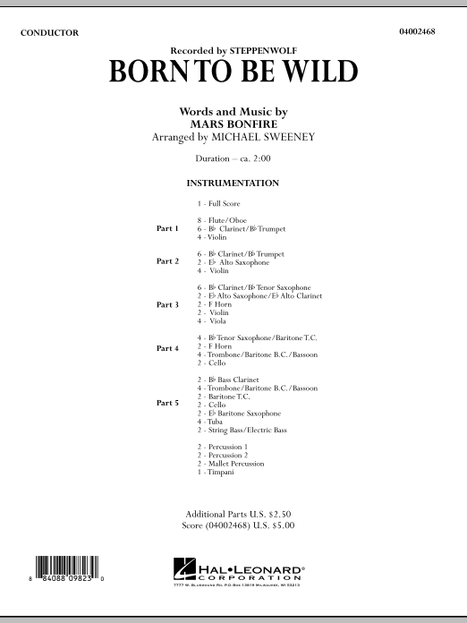 Born to Be Wild (COMPLETE) sheet music for concert band by Michael Sweeney, Mars Bonfire and Steppenwolf. Score Image Preview.