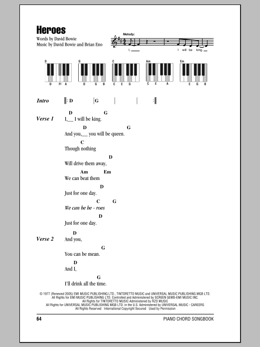 Heroes Sheet Music David Bowie Lyrics Piano Chords