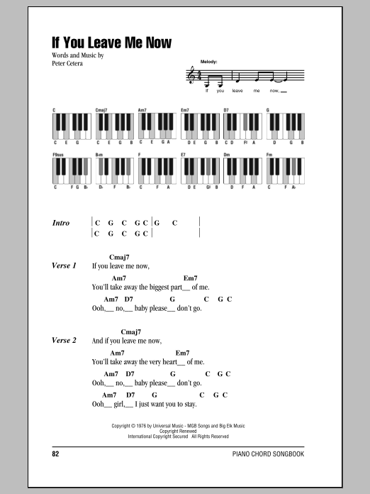 If You Leave Me Now Sheet Music Chicago Lyrics Piano Chords