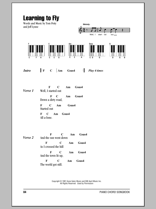 Learning To Fly Sheet Music By Tom Petty And The Heartbreakers