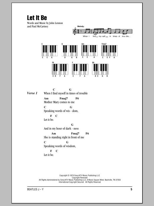Let It Be Sheet Music The Beatles Lyrics Piano Chords
