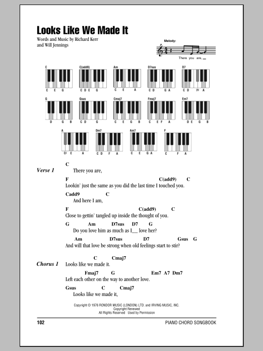 Looks Like We Made It Sheet Music