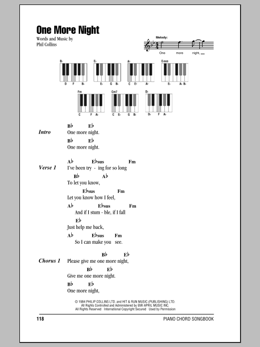One More Night Sheet Music Phil Collins Lyrics Piano Chords