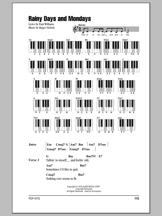 Rainy Days And Mondays Sheet Music