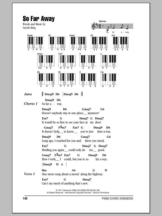 So Far Away Sheet Music By Carole King Lyrics Piano Chords 87329