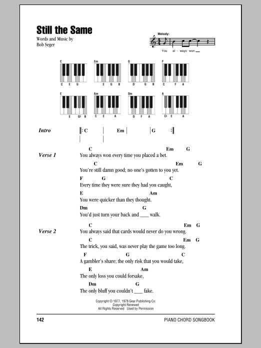 Still The Same Sheet Music | Bob Seger | Lyrics & Piano Chords
