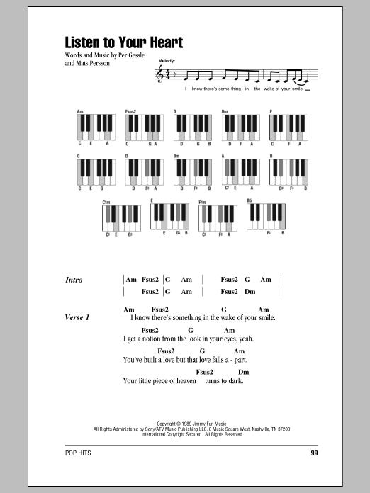 Listen To Your Heart Sheet Music Dht Lyrics Piano Chords
