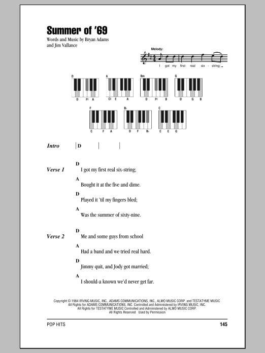 Summer Of 69 Sheet Music Bryan Adams Lyrics Piano Chords