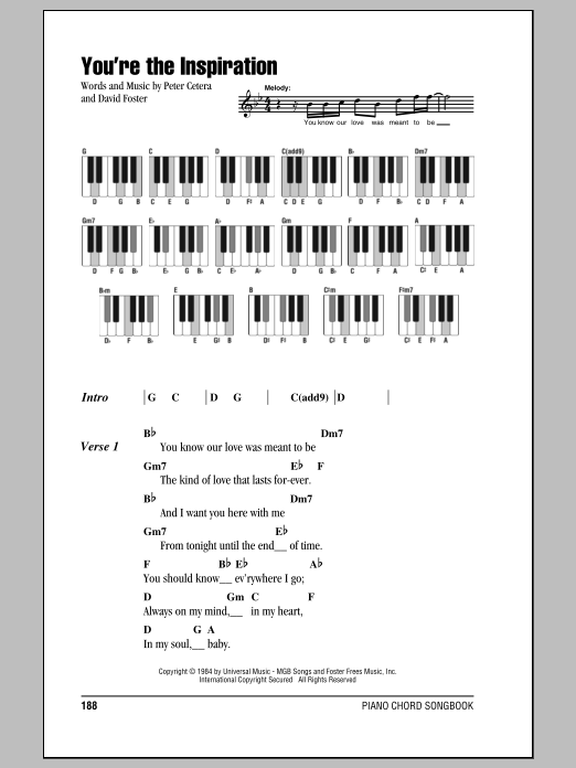 You're The Inspiration Sheet Music