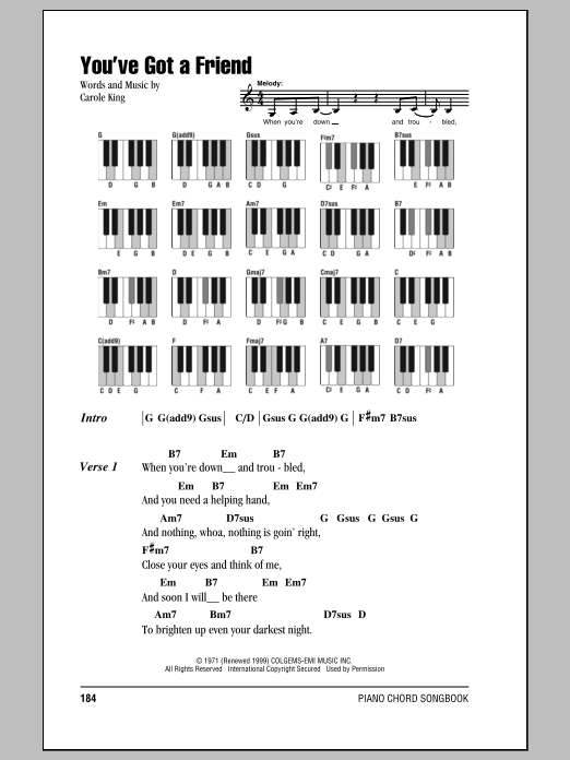 You've Got A Friend (Piano Chords/Lyrics)