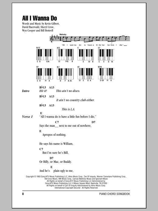 All I Wanna Do Sheet Music