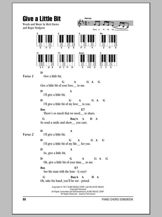 Give A Little Bit (Piano Chords/Lyrics)