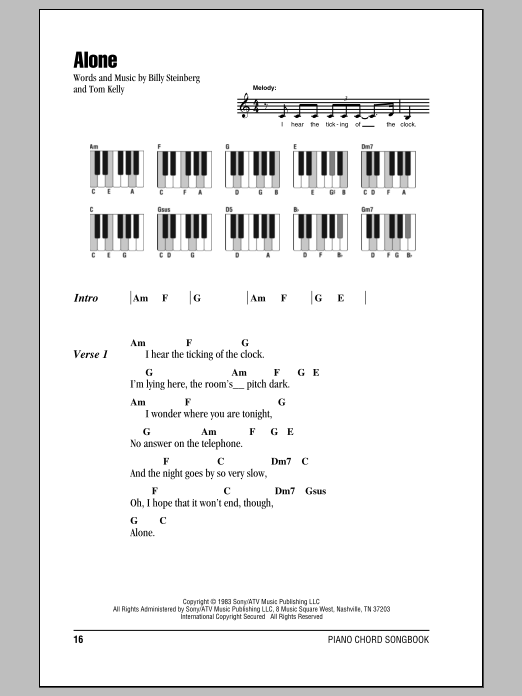 Alone by Heart Piano, Vocal & Guitar (Right-Hand Melody) Digital Sheet Music