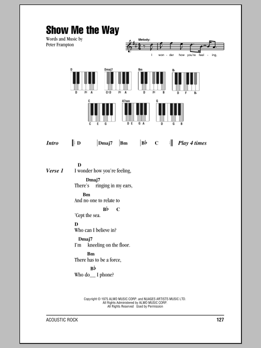 Show Me The Way (Piano Chords/Lyrics)