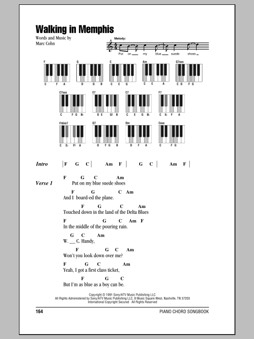 Walking In Memphis Sheet Music Marc Cohn Lyrics Piano Chords
