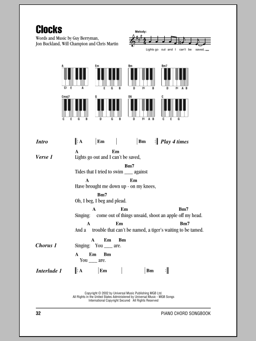 Clocks sheet music by Coldplay (Lyrics u0026 Piano Chords u2013 87359)