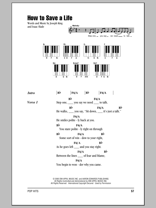 How To Save A Life sheet music by The Fray (Lyrics & Piano Chords ...