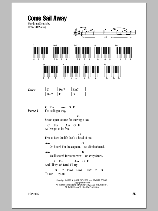 Come Sail Away sheet music by Styx (Lyrics & Piano Chords – 87352)