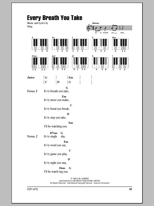Every Breath You Take Sheet Music | The Police | Lyrics & Piano Chords