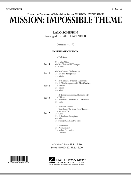 Mission: Impossible Theme (COMPLETE) sheet music for concert band by Lalo Schifrin and Paul Lavender. Score Image Preview.