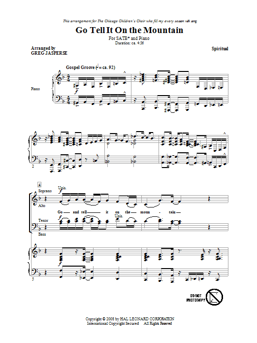 Go Tell It On The Mountain (arr. Greg Jasperse) Sheet Music
