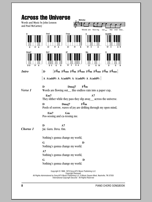 Across The Universe Sheet Music The Beatles Lyrics Piano Chords