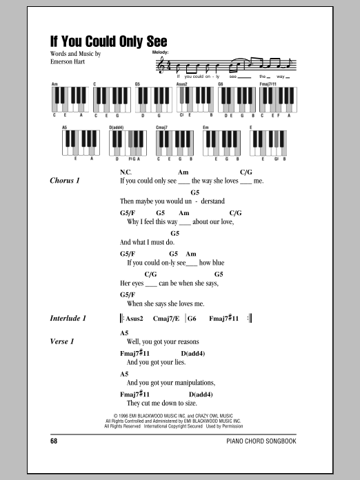 If You Could Only See (Piano Chords/Lyrics)