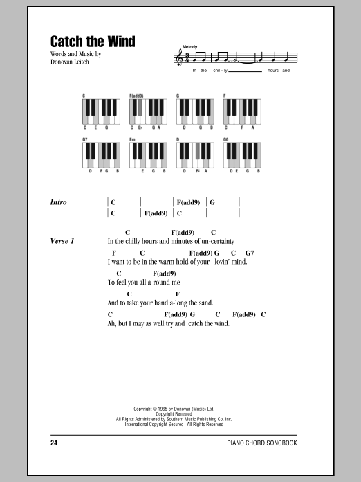 Catch The Wind Sheet Music