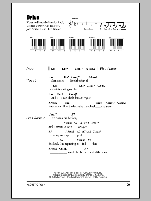 Drive sheet music by Incubus (Lyrics & Piano Chords – 87567)