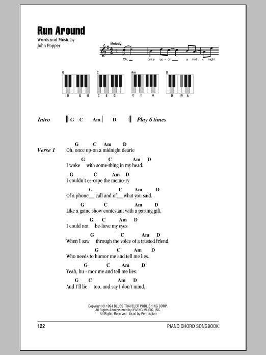Run Around (Lyrics & Piano Chords)