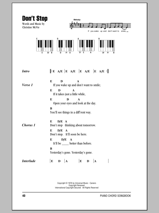 Don\'t Stop sheet music by Fleetwood Mac (Lyrics & Piano Chords – 87546)