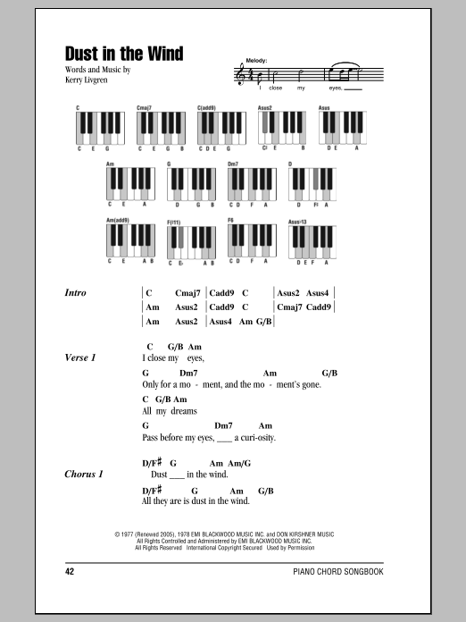 Dust In The Wind Sheet Music Kansas Lyrics Piano Chords