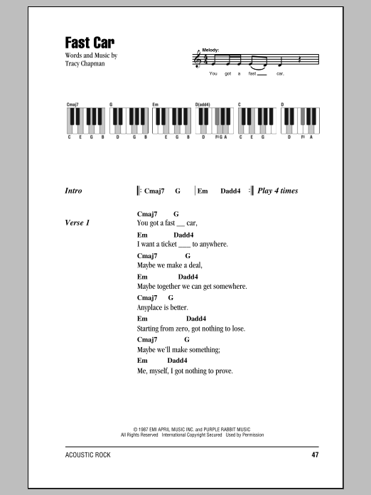 Fast Car Sheet Music By Tracy Chapman Lyrics Piano Chords - Tracy chapman fast car guitar