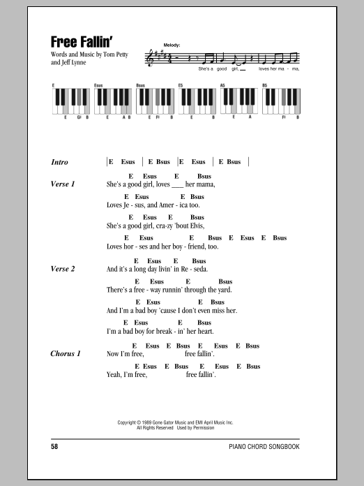 Free Fallin Sheet Music Tom Petty Piano Chordslyrics