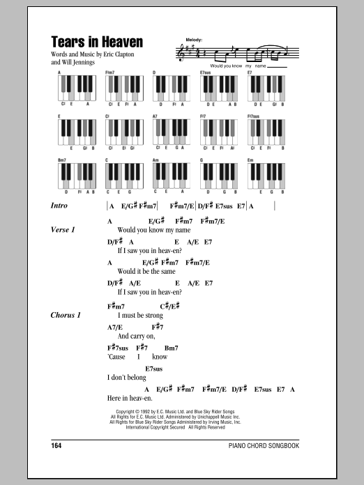 Tears In Heaven by Eric Clapton Piano, Vocal & Guitar (Right-Hand Melody)  Digital Sheet Music