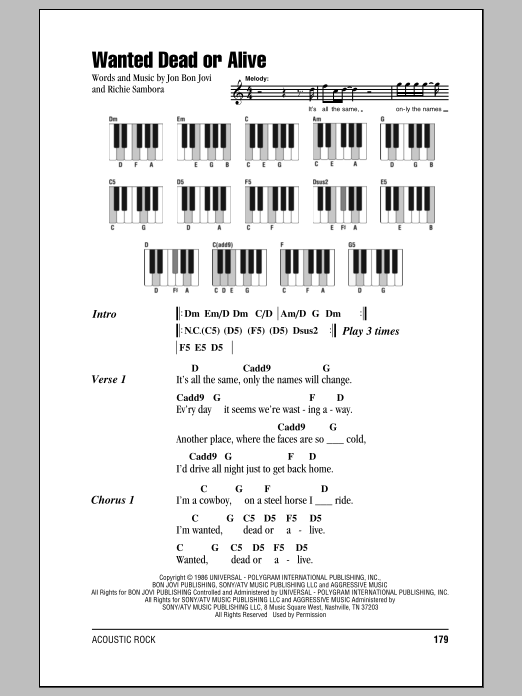 Wanted Dead Or Alive Sheet Music Bon Jovi Lyrics Piano Chords