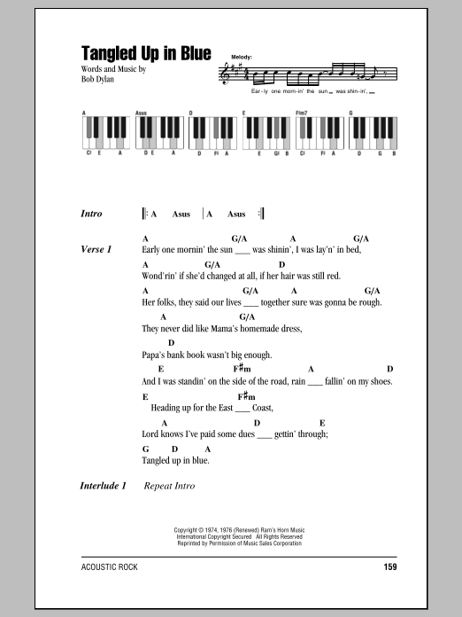 Tangled Up In Blue Sheet Music