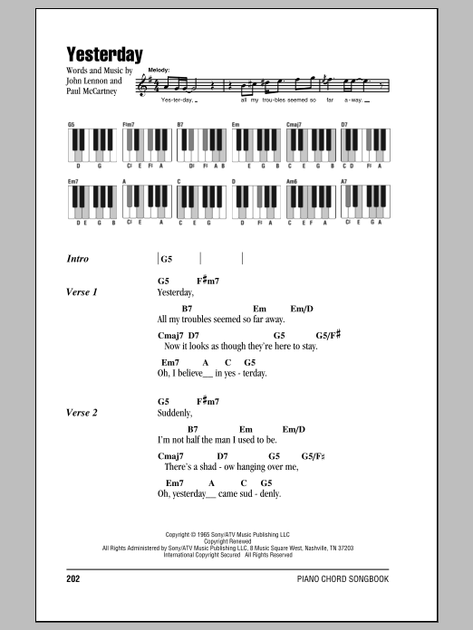 Yesterday The Beatles Lyrics Piano Chords