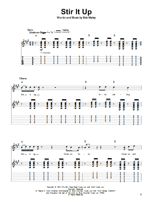 Stir It Up (Guitar Tab (Single Guitar))